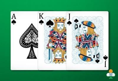teen patti hand an color flush of ace-king-jack of clubs