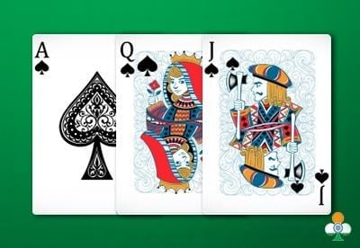 teen patti hand an color flush of ace-queen-jack of clubs