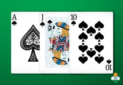 teen patti hand an color flush of ace-jack-10 of clubs