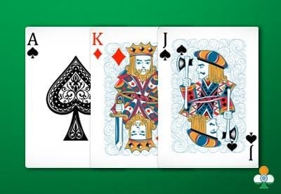 teen patti hand an ace of spades, king of diamonds and a jack of clubs