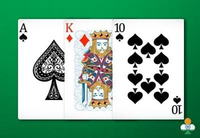 teen patti hand an ace of spades, king of diamonds and a 10 of clubs