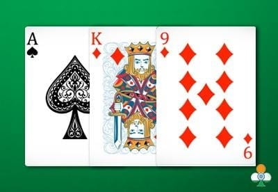 teen patti hand an ace of spades, king of diamonds and a 9 of diamonds