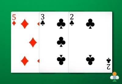 teen patti hand a 5 of diamonds, 3 of clubs and a 2 of clubs