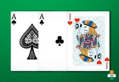 teen patti hand a pair of ace with jack of heart