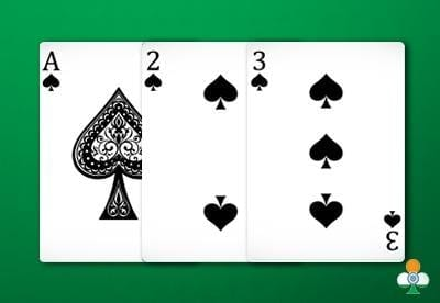 teen patti hand an ace of spades, a 2 of spades and a 3 of spades