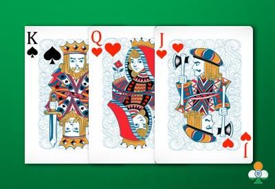 teen patti hand an king of spades, a queen of hearts and a jack of hearts