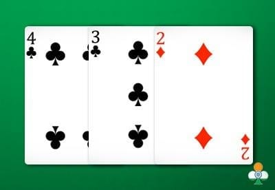 teen patti hand an 4 of clubs, a 3 of clubs and a 2 of diamonds