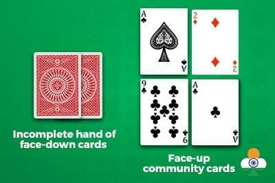 teen patti incomplete hand of face-down cards